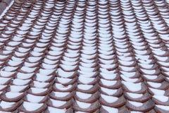 Snö ackumulerar på taktegelplattor royaltyfria foton