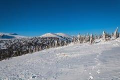Snö för lutningsbergvinter Fotografering för Bildbyråer