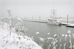 Snö för Steveston skeppsdockavinter Royaltyfri Bild