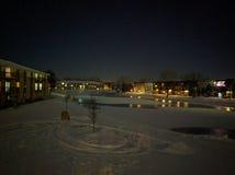 Snö förkylning, vinter, is, sjö Arkivbild