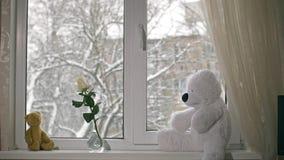Snö faller sikten från rummet lager videofilmer