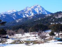 Snö korkade Ida Mountain arkivfoton