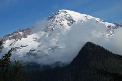 Snö-korkade Mount Rainier Arkivfoton