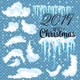 Snö 2019 med istappar och snödrivor Vintersnölock med is Uppsättning av olika vita snöig ramar för blått och för garnering Ve stock illustrationer