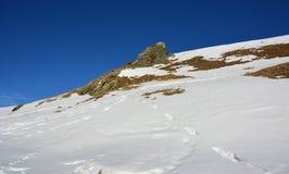 Snö och berget i vinter arkivfoto
