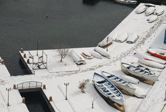 Snö och fartyg Arkivfoto