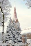 Snö och kyrka Royaltyfria Bilder