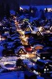 Snö och natt Fotografering för Bildbyråer