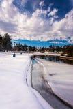Snö och is på Kiwanis sjön, i York, Pennsylvania royaltyfri fotografi