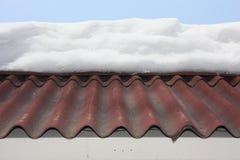 Snö på det höga taket foto arkivbild