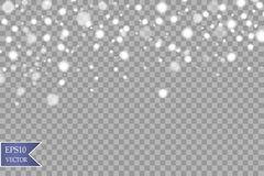 Snö på en genomskinlig bakgrund Dekorativ beståndsdel för vit lutning också vektor för coreldrawillustration Vinter och snow stock illustrationer