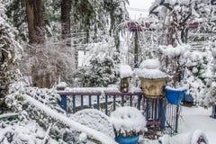 Snö på farstubron Royaltyfria Foton
