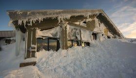 Snö på fjällriparestaurangen, Cairngorm Arkivbilder