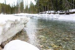 Snö på flodstrand arkivfoton