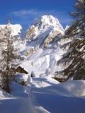 Snö på Fuciade Royaltyfri Fotografi