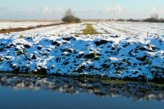 Snö på gras nära bevattnar arkivbild
