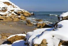 Snö på havet arkivfoton
