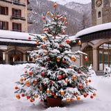 Snö på julträd Royaltyfria Bilder