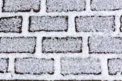 Snö på textur för bakgrund för tegelstenstenläggningabstrakt begrepp Royaltyfri Bild