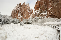 Snö på trädgården av gudarna Arkivfoto