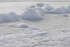 Snö på yttersidan av floden royaltyfria bilder