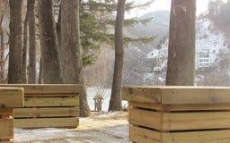 Snö sjö på vintersäsong på namiön royaltyfria foton