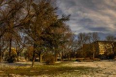 Snö smälter i Berlin Lutzow Platz Fotografering för Bildbyråer