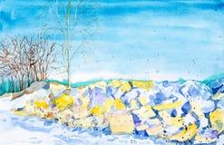 Snö smälter på vaggar på våren bland träden och skogen i bakgrunden Vattenf?rgillustration som isoleras p? vit stock illustrationer
