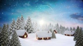 Snö som faller på gullig by i skog stock illustrationer
