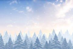 Snö som faller på skog för granträd Royaltyfri Fotografi