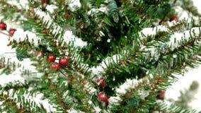Snö som slappt faller på julträd stock video