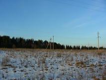 Snö-täckt äng med skogen mot bakgrunden Royaltyfri Bild