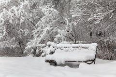 Snö täckt bänk, dåligt väderbegrepp Den härliga snöfallvintern parkerar trädlandskap Royaltyfri Fotografi