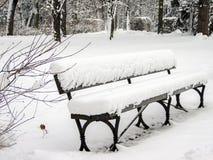 Snö-täckt bänk i parkera arkivbild