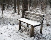 Snö täckt bänk i skog i vinter Royaltyfria Foton