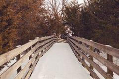 Snö täckt fotbro Arkivfoto
