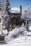 Snö täckt gotiskt kapell - vårdungekyrkogård - Cincinnati, Ohio arkivbild