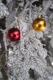 Snö täckt granträd med leksakbollar Arkivbilder