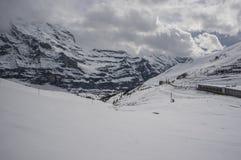 Snö täckt landskap längs den Jungfraujoch järnvägen Royaltyfri Fotografi