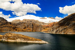 Snö täckt maximum och en mörk sjö Arkivbilder