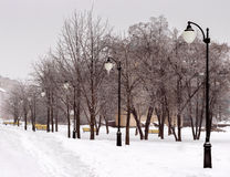 Snö-täckt stadsgata Arkivbild