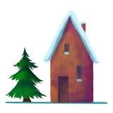 Snö-täckt tegelstenhus i vintern Arkivbilder