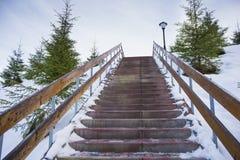 Snö-täckt trappa till himmel royaltyfria foton