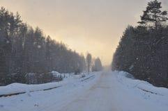Snö-täckt väg under ett tungt snöfall Royaltyfri Bild