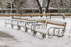 Snö-täckte bänkar Royaltyfria Bilder