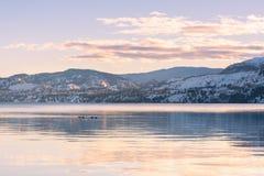Snö-täckte berg och solnedgångfärger reflekterade i lugna vatten av sjön i vinter arkivfoto