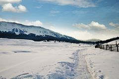 Snö täckte landskapet, Kashmir, Jammu And Kashmir, Indien arkivbilder