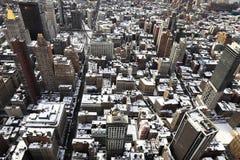 Snö-täckte tak i New York Royaltyfri Fotografi