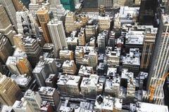 Snö täckte tak i New York Fotografering för Bildbyråer