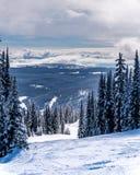 Snö täckte träd och den djupa snöpacken på en skida som är inkörd det höga alpint nära byn av solen, når en höjdpunkt Arkivbild